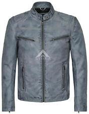 Mens Grey Stonewashed Retro Biker Style Strong 100% Buffalo Leather Jacket SR-02