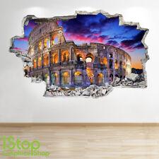 Rome autocollant mural 3D look-chambre à coucher lounge colisée ville applique murale Z18