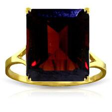 Genuine Garnet Emerald Cut Gemstone Solitaire Ring 14K Yellow,  White, Rose Gold