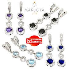 Orecchini pendenti in argento 925 con zirconi bianchi,blu,neri viola e azzurri