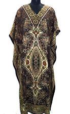 NEW WOMENS LADIES KAFTAN LONG DRESS AFRICAN DRESS BROWN  DASHIKI SIZE 12-24