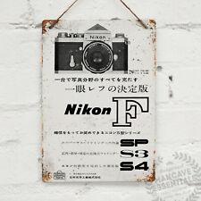 Giapponese annuncio Nikon Vintage metal wall sign TARGA Retrò Capanno fotografia 35mm