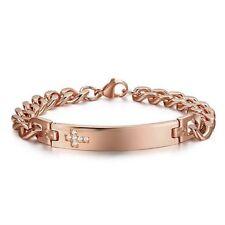 "Rose Gold Stainless Steel 8"" Cuban CZ Cross Bracelet Free Engraving"