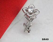 Bridal Engagement Ring Sterling Silver 925 floral Promise Ring Flower Rose Ring
