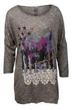Ladies Long Sleeve Grey Printed Top - Sizes Medium/Large/XLarge/XXLarge