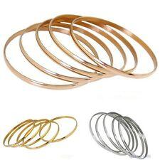 3 Colors Choose 5pcs/Set New Shiny 6.8cm Stainless Steel Women's Bangle Bracelet