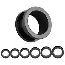 BLACK Stainless Steel Ear Tunnels Piercing Stretchers Plugs Jewellery TU175