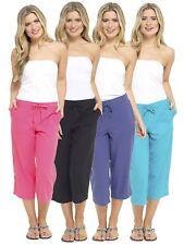 Womens 3/4 Length Leg Linen Culottes w Elasticated Waist, 2 Side & Back Pockets