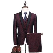 Men's 3Pcs Burgundy Jacquard Paisley Suit Blazer Tuxedos Prom Party Wedding Suit