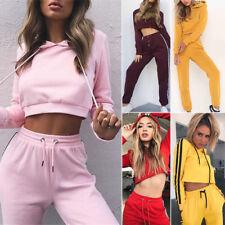 2Pcs Set Womens Tracksuit Hoodie Sweatshirt Crop Top Pants Sportsuit Casual Suit
