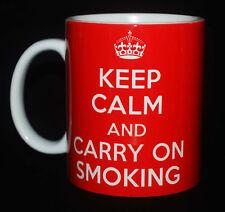 NEW KEEP CALM AND CARRY ON SMOKING GIFT MUG CUP SMOKER'S PRESENT PIPE TOBACCO