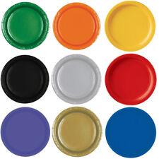 Coloured Paper Plates x 8 23cm Partyware Green Orange Blue Yellow Purple Gold