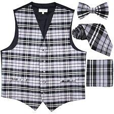 New Men's Tuxedo Vest Waistcoat_Necktie, Bowtie & Hankie Set Plaid Gray formal