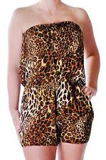 Womens Animal Leopard Print Bandeau Casual Mini Short Playsuit Jumpsuit Rompers