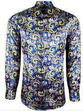 Hombre Brillante tacto de seda estilo informal Vestido ceremonia Camisa 427 Azul