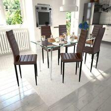 Lot de chaises marron aux lignes fines avec une table en verre Chaise de cuisine