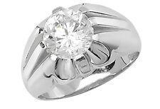 Sterling Silver Gents HEAVY CZ Gypsy Ring Many Sizes NEW