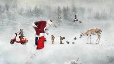 Christmas art wall Decor Santa and his pet Oil painting Printed on canvas