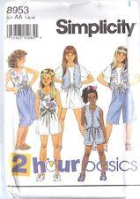 UNCUT Vintage Simplicity SEWING Pattern Little Girls Shorts Top Lined Vest 8953