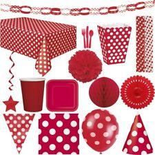 Rote Punkte Party Geburtstag Dekoration Kindergeburtstag Deko rot Einweggeschirr