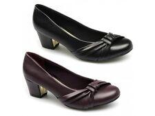 Comfort Plus SHARON Ladies Womens Sash Wide Fit Smart Block Heel Court Shoes