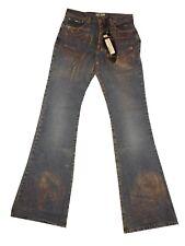 Jeans mohave donna a zampa d'elefante regular fit azzurro con stampa w26 nuovo