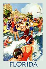 Girls Beach Swim Florida Travel Tourism Vintage Poster Repro FREE S/H in USA