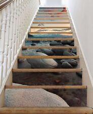 3D Strand Stein 847 Stair Risers Dekoration Fototapete Vinyl Aufkleber Tapete DE