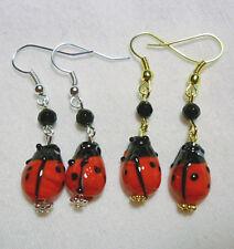 Earrings - glass ladybirds/ladybugs - choice of 2 styles