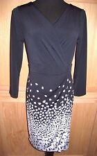 Ann Taylor Navy Floral Print Drape Side Faux Wrap Stretch Jersey Dress, 4R  $128