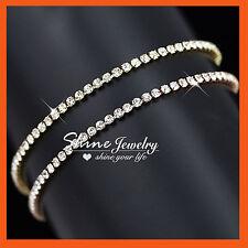 9K Gold GF LAB DIAMOND TENNIS ETERNITY ROW BAND SOLID WOMEN GIRL BANGLE BRACELET