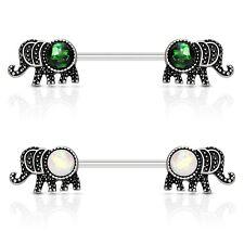 FAUX RESIN-OPAL ELEPHANT NIPPLE PIERCING BARBELLS RINGS 14g 9/16 (Sold in Pairs)