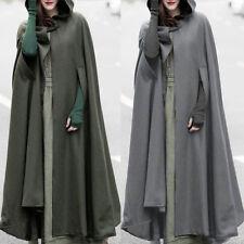 HOT Women Trench Coat Open Front Cardigan Jacket Coat Cape Cloak Poncho Plus