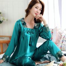 Ladies Womens Embroidered Flower Pajamas Set Silky Soft Satin Nightwear Homewear