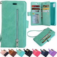 Flip Leather 9 Cards Slots Cash Holder Wallet Stand Case Cover Zipper Bag Purse
