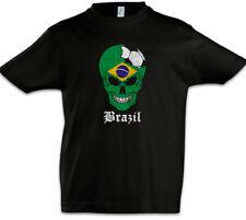 Brazil Football Skull I Kids Boys T-Shirt brazilian Soccer Flag Championship