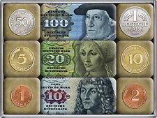 German Deutschemark notes/coins set of 9 mini fridge magnets (na)