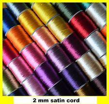 2 mm satin cord for Macrama, Kumihimo, Shamballa 57 colours - massive selection