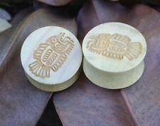 "Pair Organic Handmade Carved Out Crocodile Wood Ear Plugs Aztec Fish 00G-1"" US"