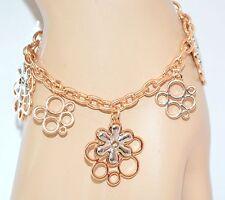 BRACCIALE donna ORO ARGENTO ciondoli fiori catena anelli regalo bracelet E40