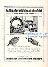 Installation Koch Osnabrück Reklame von 1924 Elektro Strom Ingenieur Elekrtiker