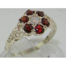 10ct Oro Bianco Granato Naturale Opale & Anello Donna Vintage DAISY-Dimensioni J a Z