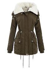 New Ladies Curve Long Cuff Sleeve Coats Fleece Neck Cargo Parka Jackets 18-24