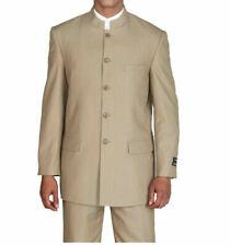 New Men's Mandarin Collar Pin Stripe Church Suit Jacket & pants Tan 38R~60L