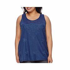 Star Scene Crochet Inset Tank Top Juniors Plus Size 1X, 2X, 3X New Msrp $42.00