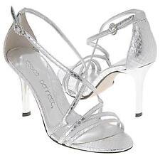 $140 JESSICA BENNETT Heart Strappy Heels ~ Silver Metallic Snakeskin 9 & 11 NEW