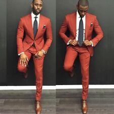 Men's Skinny Red Wedding Suit Groom Tuexdos Slim Fit Suit Casual Custom