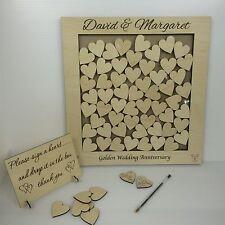Personalizzata D'oro Anniversario Di Matrimonio compensato di betulla scatola di rinvio Libro Degli Ospiti Regalo