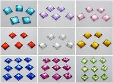 Flatback Acrílico Facetado Cuadrado de 100 diamantes de imitación de Costura Botón Coser en grano 14X14mm