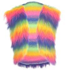 Adults Mulit-Coloured Faux Fur Waistcoat Gay Pride LGBT Unisex Hippy Fancy Dress